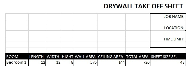 Drywall take off sheet excel templates for Take off sheet template