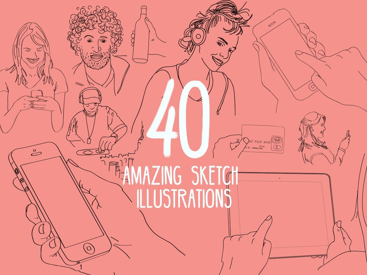 40 VECTOR SKETCH ILLUSTRATIONS