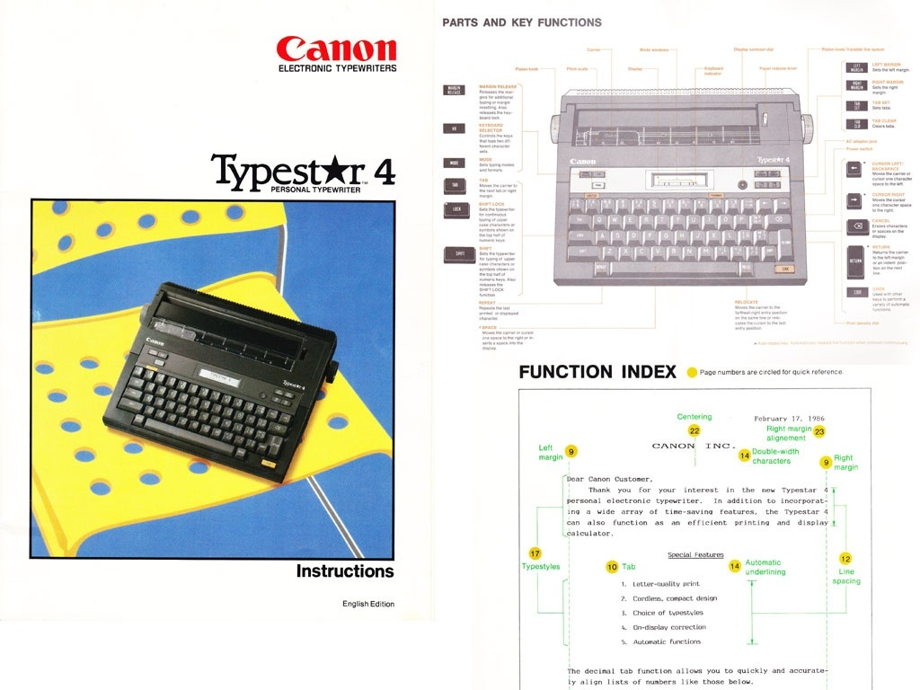 Canon Typestar 4 Typewriter User's Manual