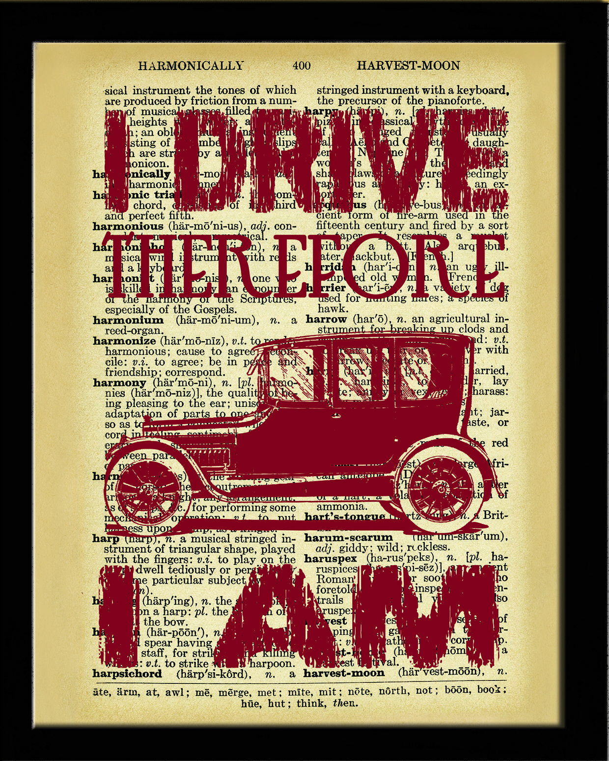 Dictionary art print vintage car wall decor i drive dictionary art print vintage car wall decor i drive therefore i am amipublicfo Images