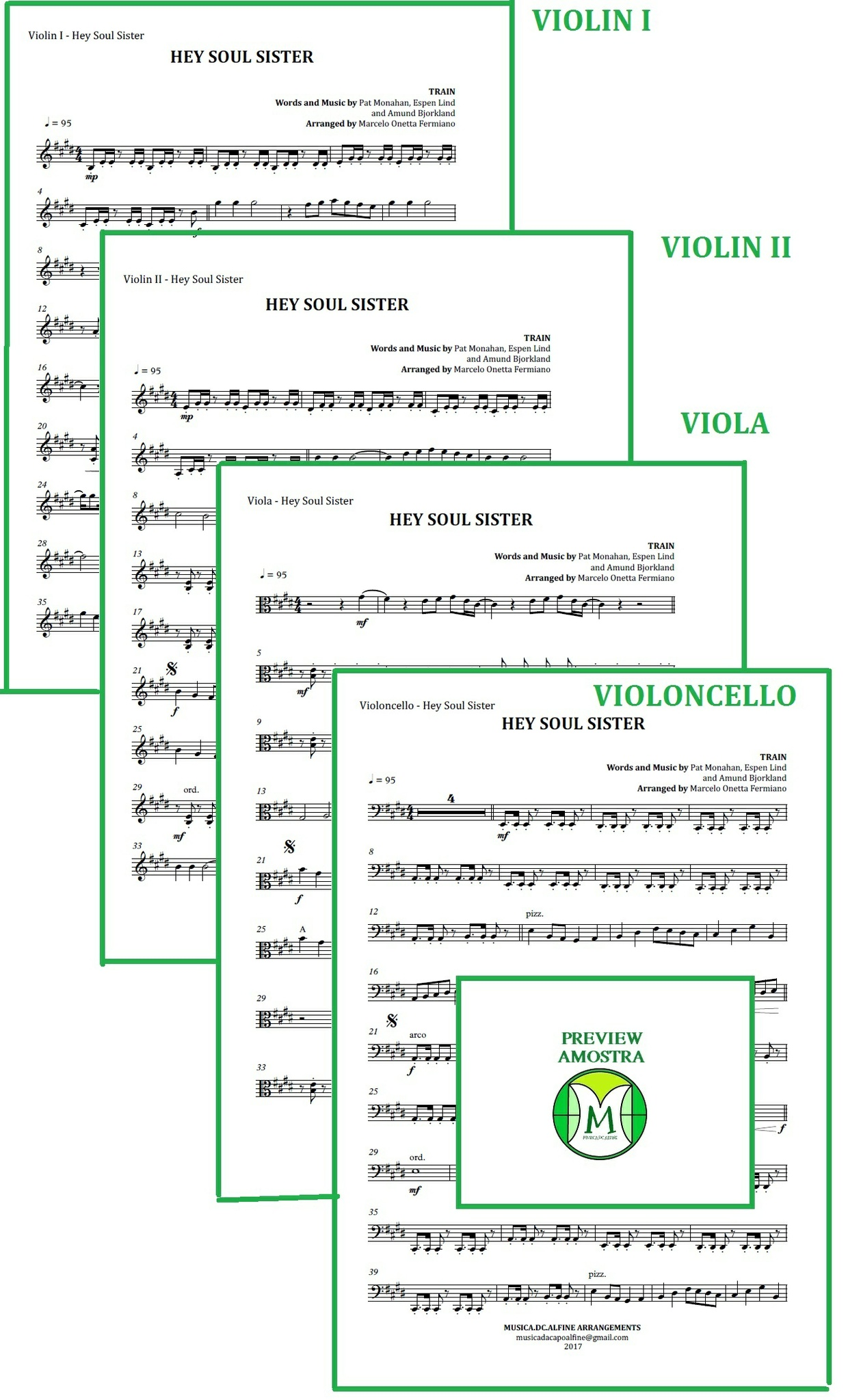 Hey Soul Sister | Train | String Quartet | Score and Parts | Download