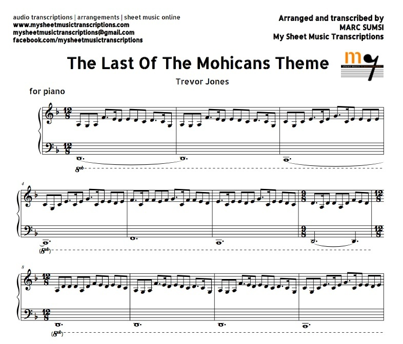 The Last of the Mohicans Theme Trevor Jones Sheet mu