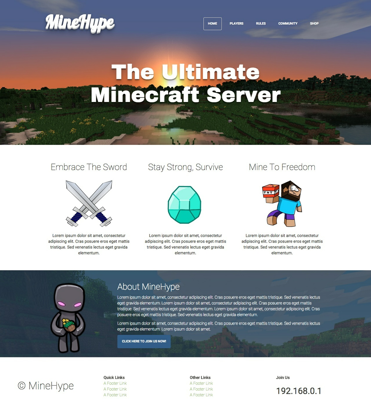 MineHype: Minecraft Bootstrap HTML Template