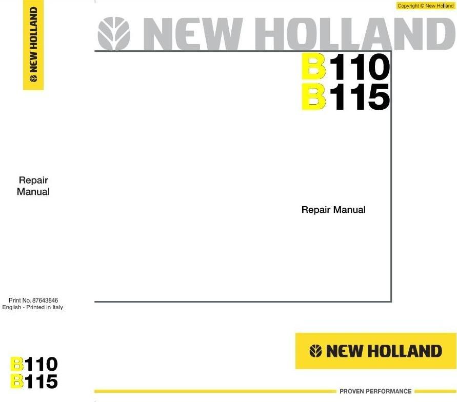 New Holland Backhoe Loaders B-Series: B110, B115 Workshop Service Manual