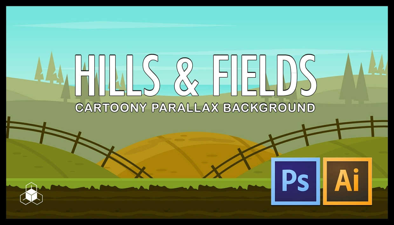 2D HILLS, FIELD - Cartoony Nature Parallax Background