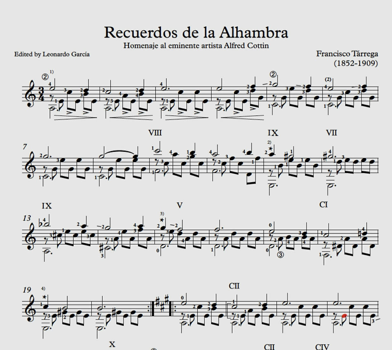 Francisco Tarrega Recuerdos de la Alhambra Study Score
