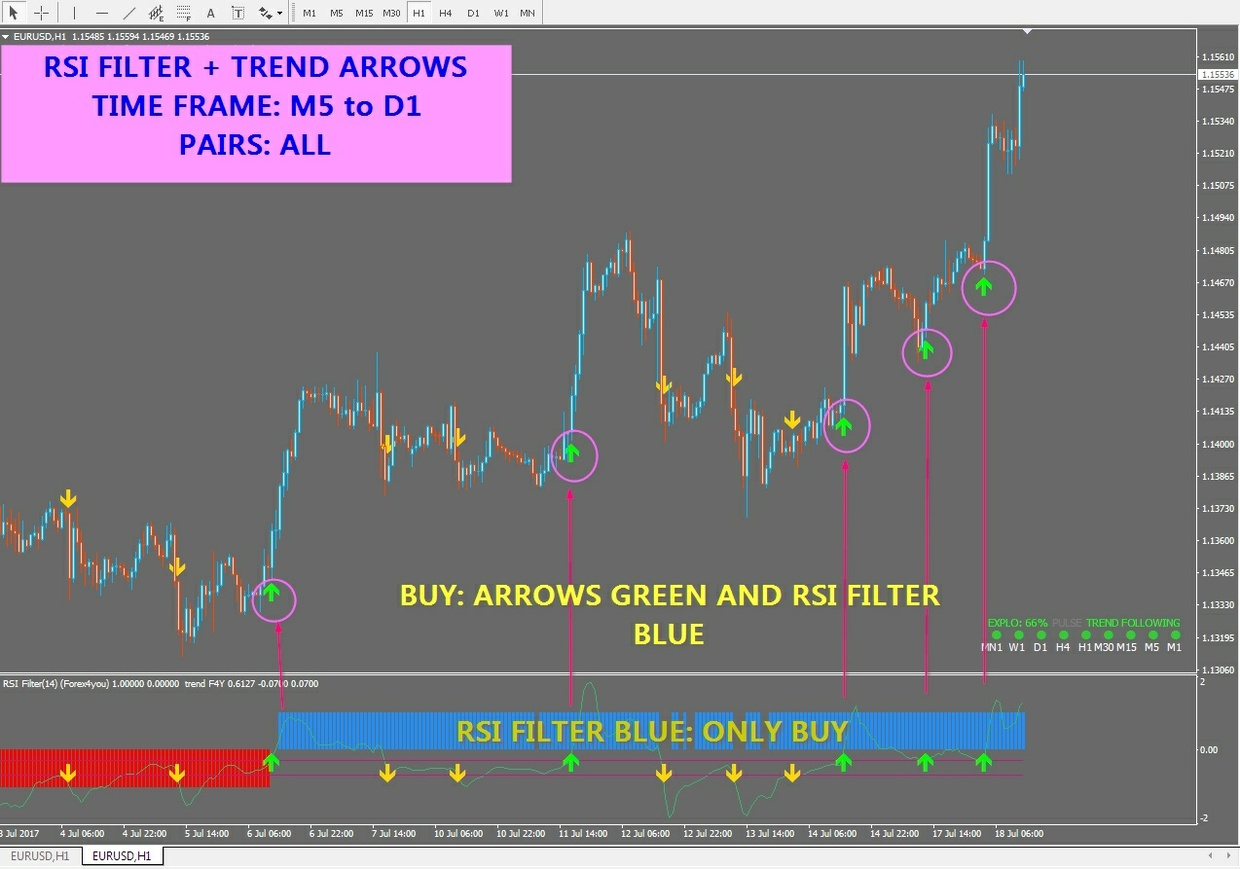 r073 RSI FILTER + TREND ARROWS system indicator Metatrader 4