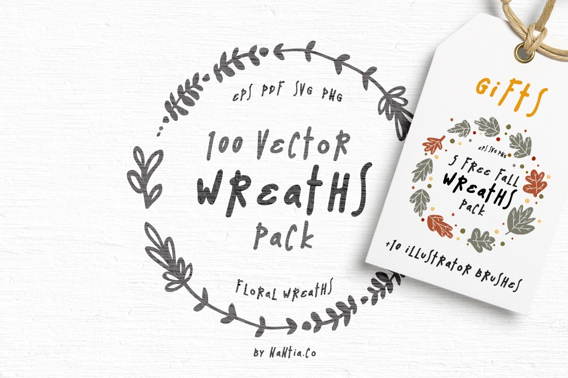 100 Wreaths Vector MEGA Pack