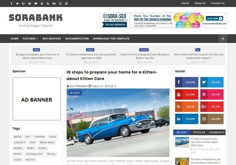 Sora Bank Blogger Template Premium Version