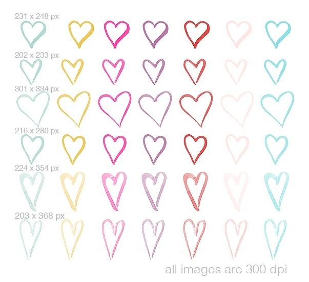 watercolor hearts clipart 2