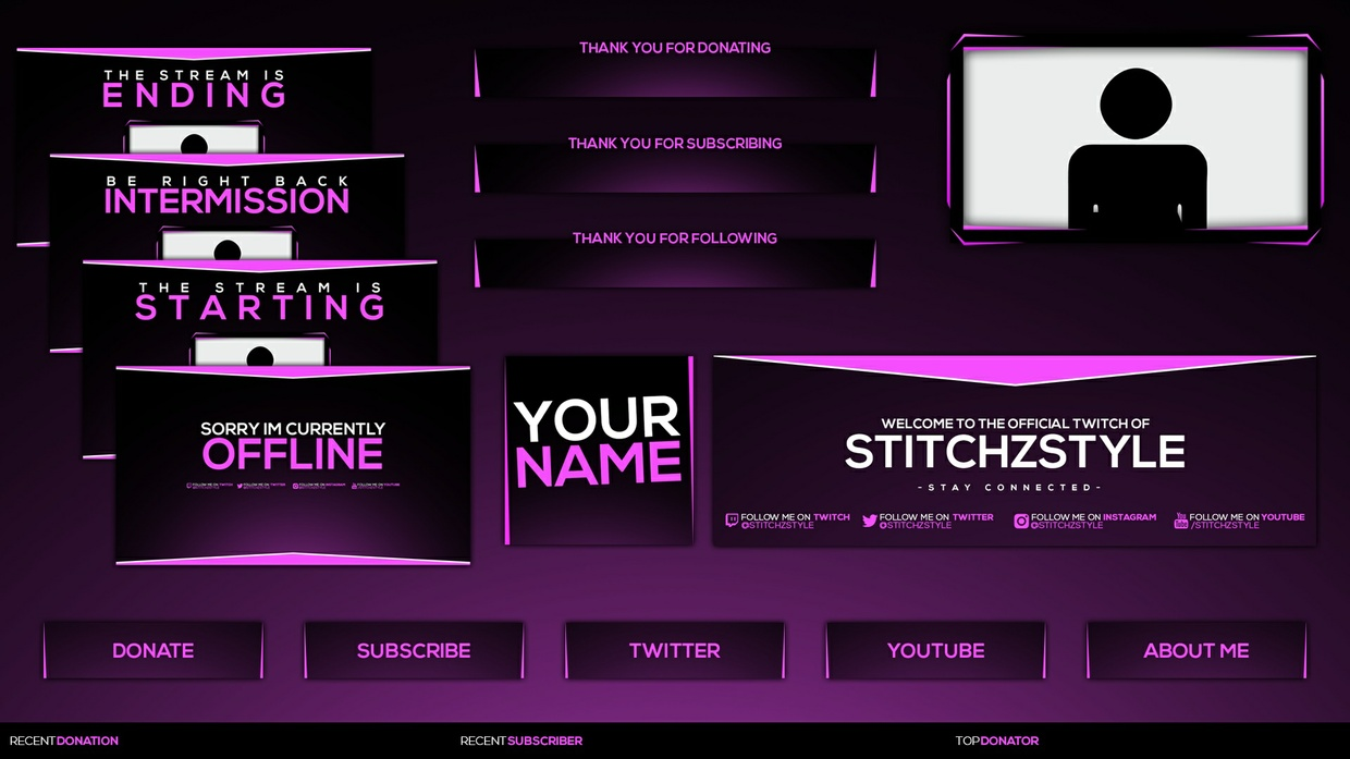Pink and Black Twitch Stream Rebrand and Overlay Photoshop Template Pack