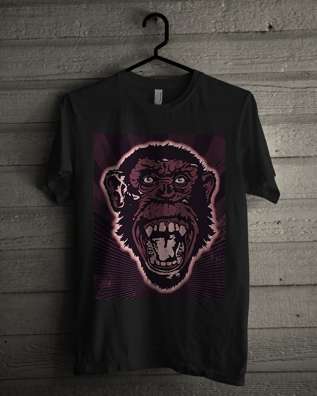 T-shirt Design Image - Monkey Face In Purple