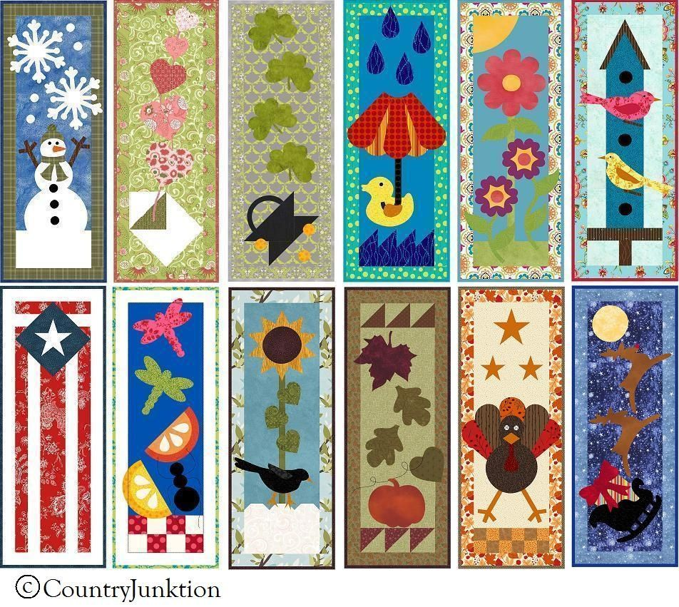 Mini Quilt Block Template Set : Year of Mini Quilts Pattern 2012 BOM (set of 12)