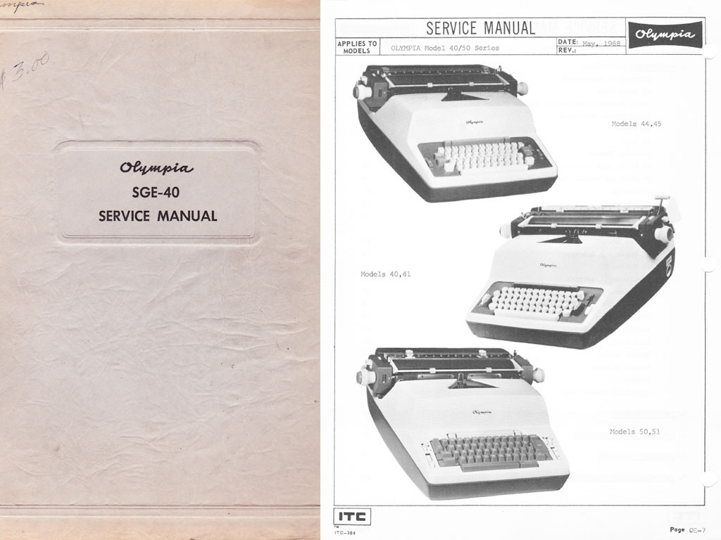 Olympia SGE-50 and SGE-50 Electric Typewriter Service Repair Adjustment Manual