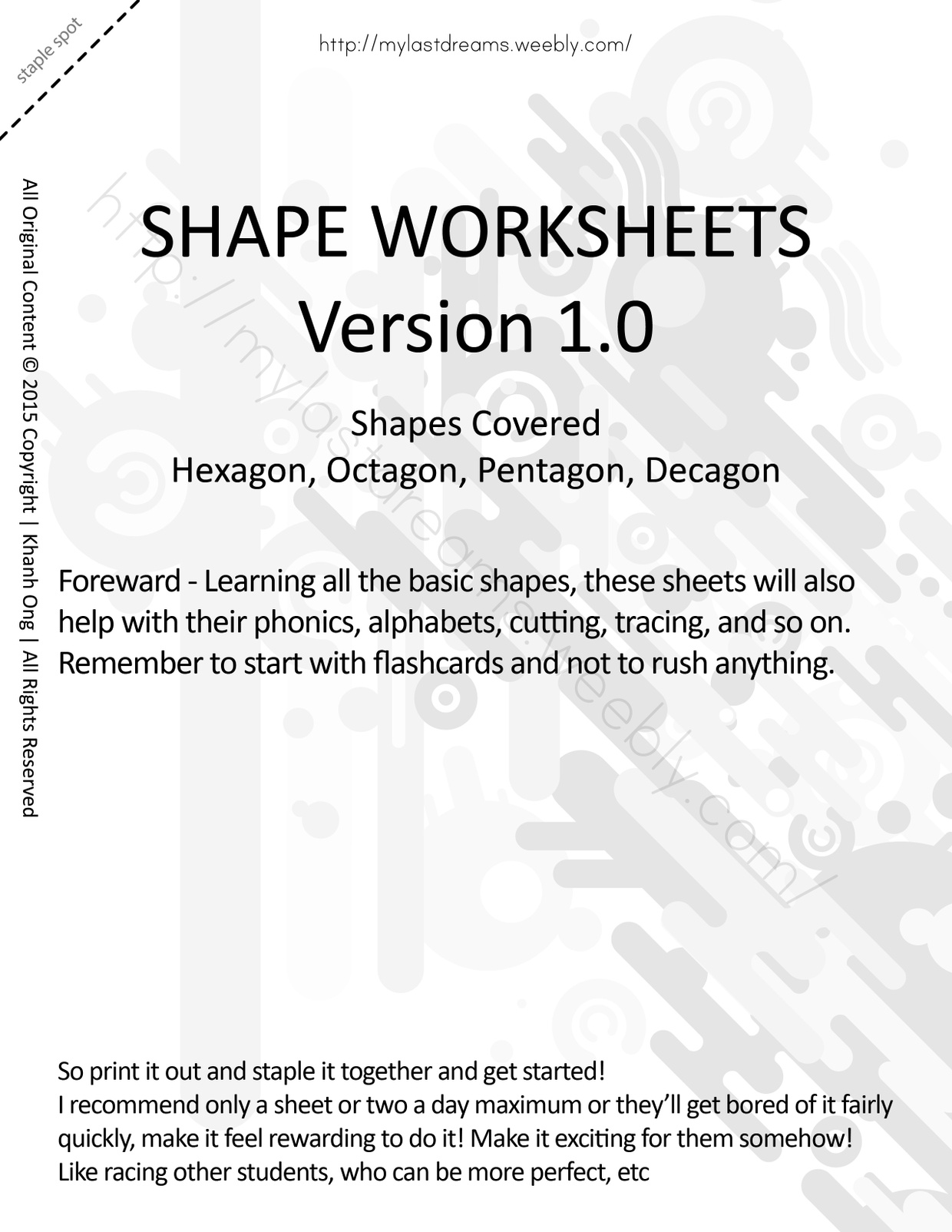 MLD - Basic Shapes Worksheets - Part 3 - Letter Sized