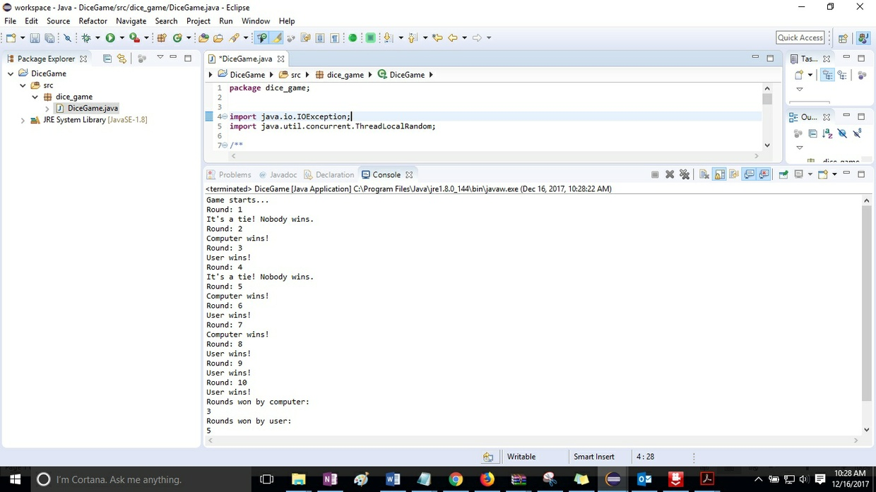 Module 04 Post-Assessment Part 2 Dice Game in Java Solution