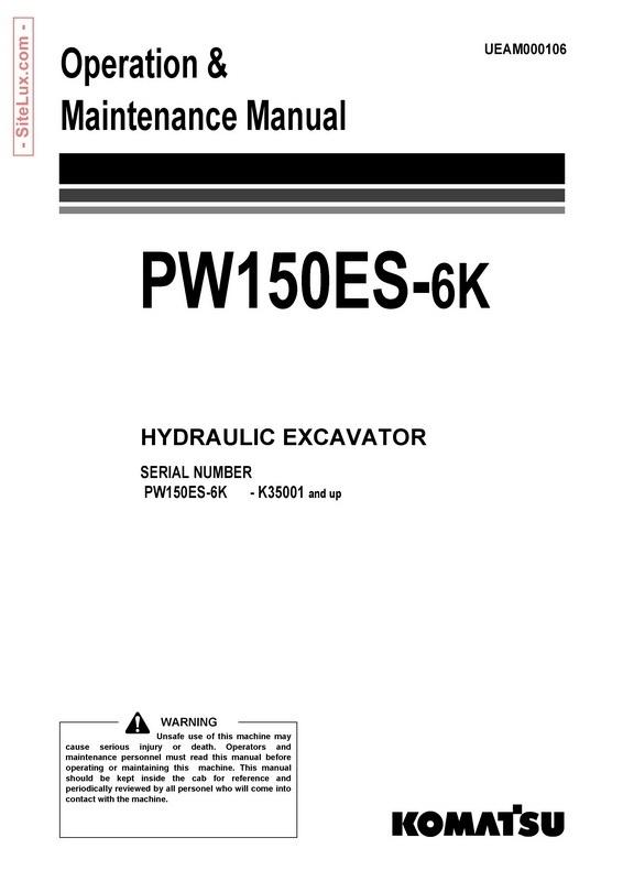 Komatsu PW150ES-6K Hydraulic Excavator (K35001 and up) Operation & Maintenance Manual - UEAM000106