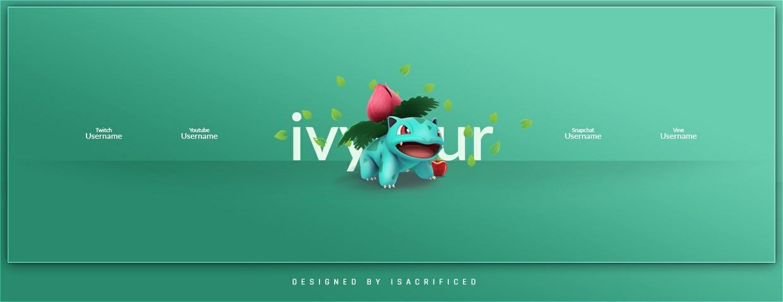 POKEMON GO: Ivysaur Twitter Header Template (PSD)