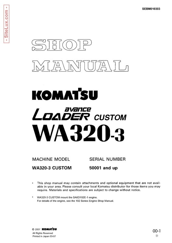 Komatsu WA320-3 avance Wheel Loader Shop Manual - SEBM010303