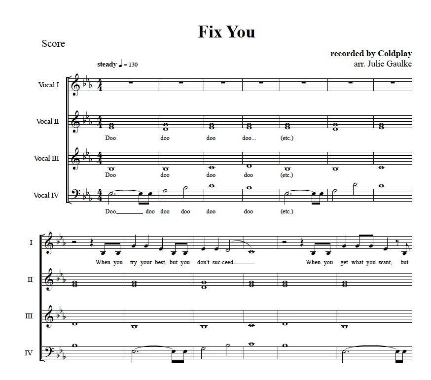 Fix You (Coldplay) original arrangement