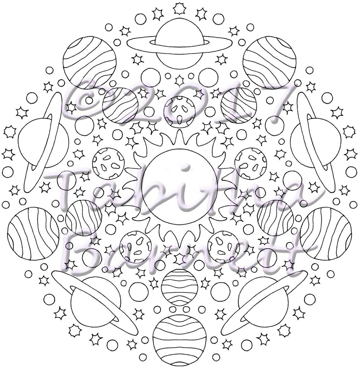 Sun, Moon, Stars Mandalas Coloring Pack (7 page PDF)