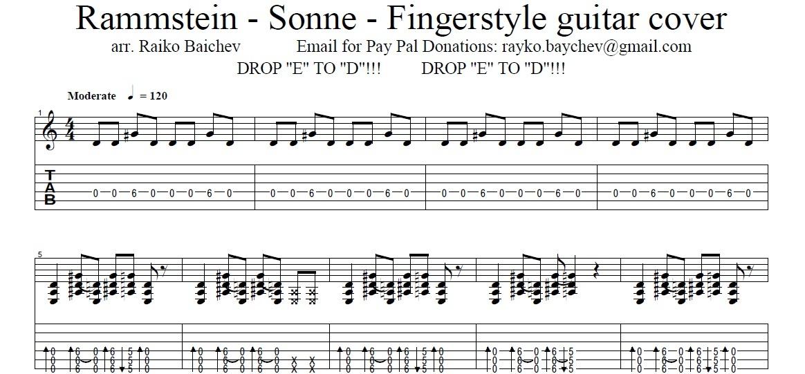 Rammstein - Sonne - Fingerstyle Tab