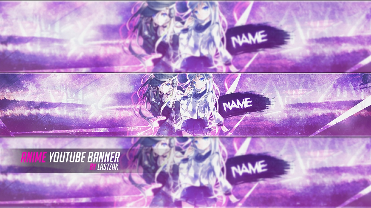 FREE Anime Youtube Banner PSD Template by LastZAK