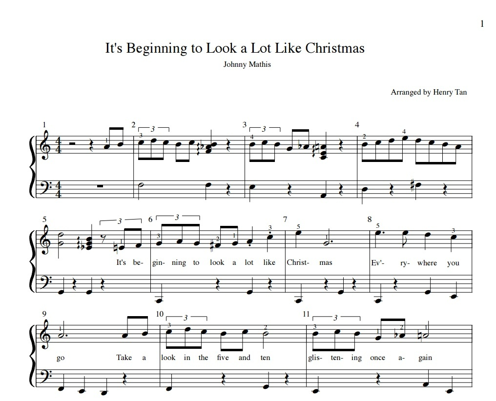 it s beginning to look a lot like christmas sheet music - Heart ...