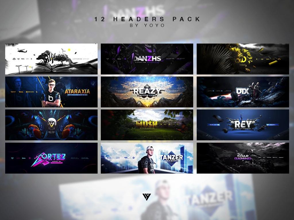 12 Headers .PSD Pack