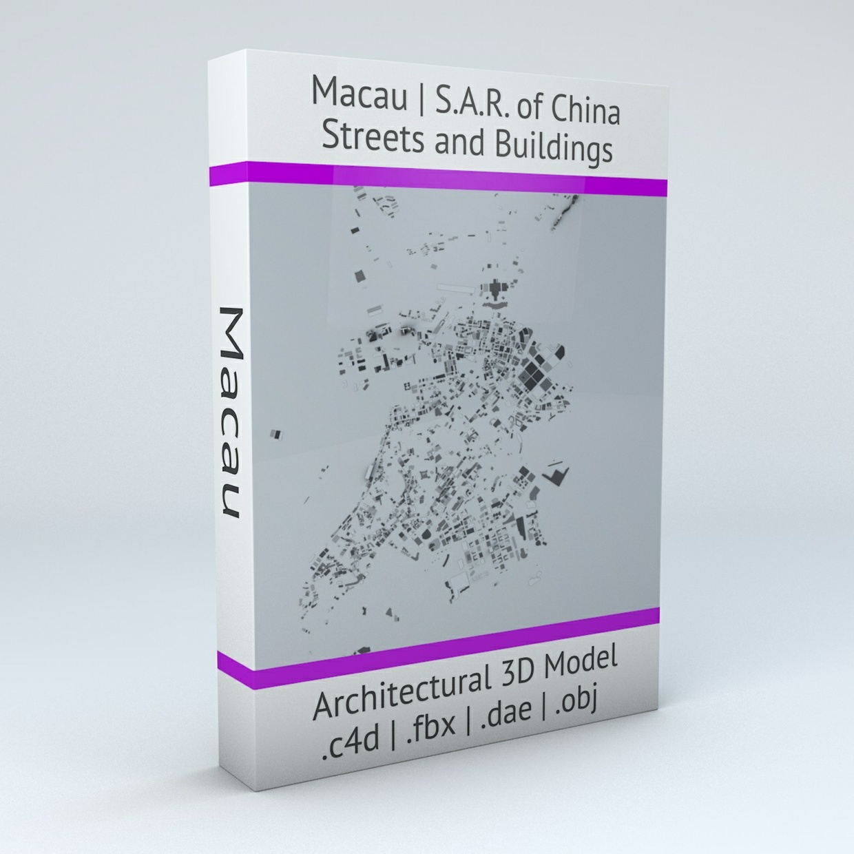 Macau Streets and Buildings Architectural 3D Model