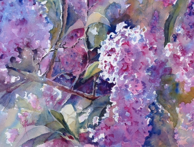 Watercolor Lilacs Live! Colleen Reynolds
