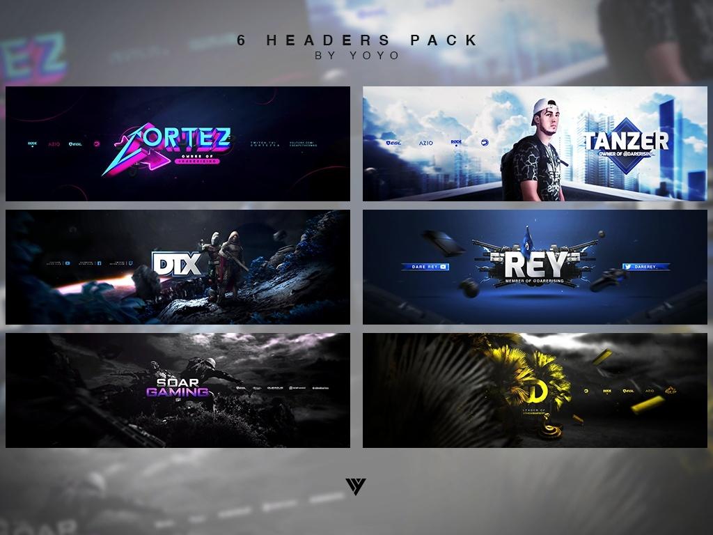 6 Headers .PSD Pack
