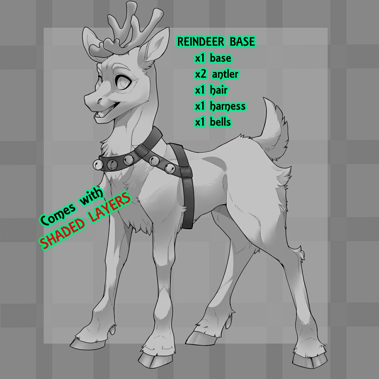 Reindeer/Deer/Goat Base w/ Shaded Layers