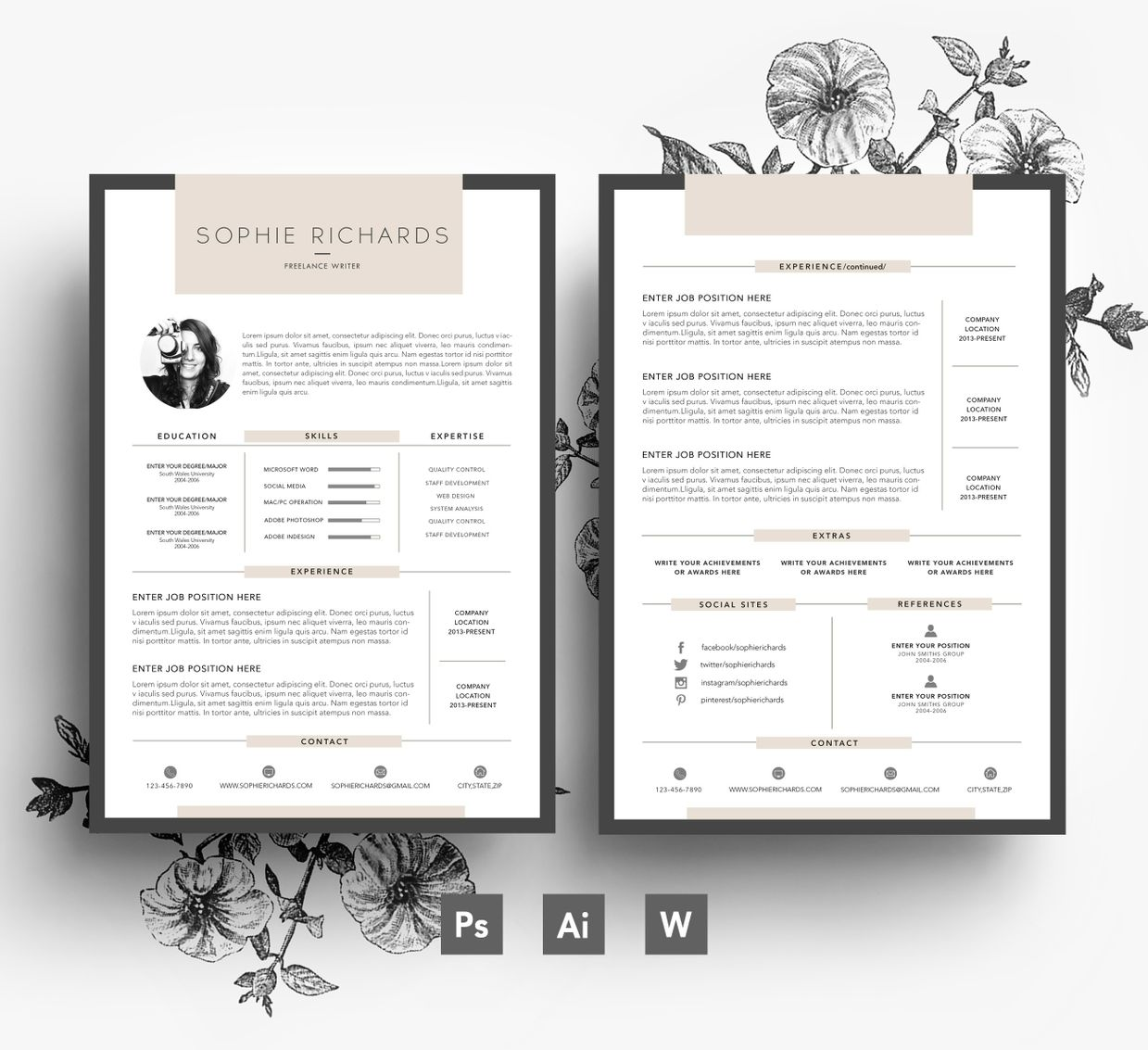 custom resume template 2 page cv cover letter psd file - 2 Page Resume Template