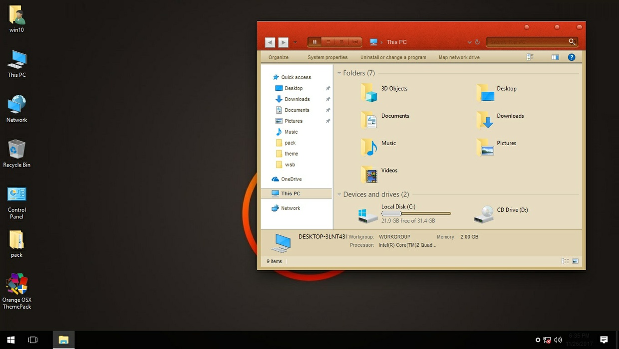 Orange OSX ThemePack for Win 7/10RS3