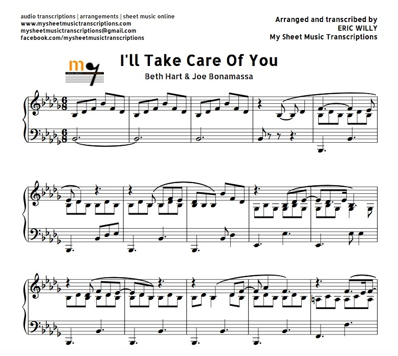 All Music Chords fall for you sheet music : I'll Take Care of You (Beth Hart & Joe Bonamassa) Shee