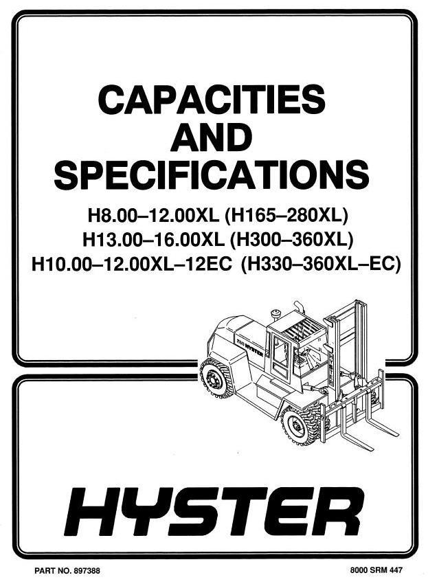 Hyster Forklift Truck  D007, E007, C019, D019 Series: H8-16.00XL (H190XL-H360XL) Workshop Manual