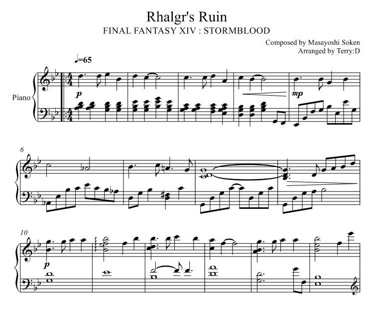 Final Fantasy XIV : Stormblood - Rhalgr's Ruin for piano solo ( Arr.by Terry:D )