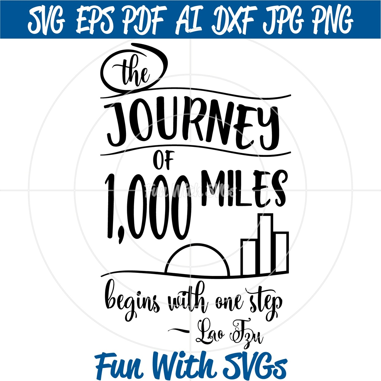 The Journey of a Thousand Miles Begins With One Step, SVG Files, 1,000 Miles, Cricut, Silhouette