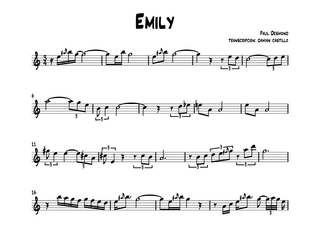 """Paul Desmond - """"Emily"""" - Sax alto."""