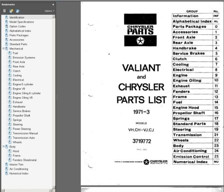 CHRYSLER VALIANT VJ VH CHARGER CH CJ PARTS BOOK