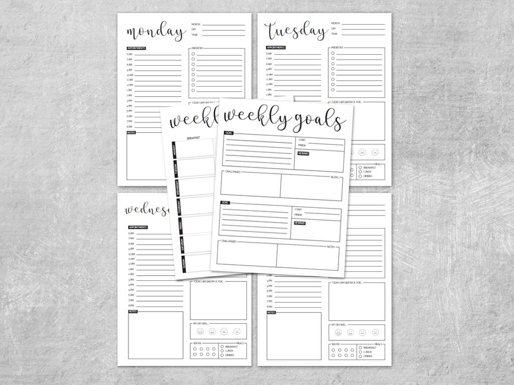 Weekly Life & Goal Worksheets