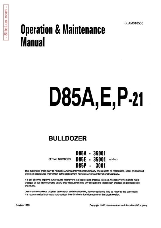 Komatsu D85A-21, D85E-21, D85P-21 Bulldozer Operation & Maintenance Manual - SEAM010500