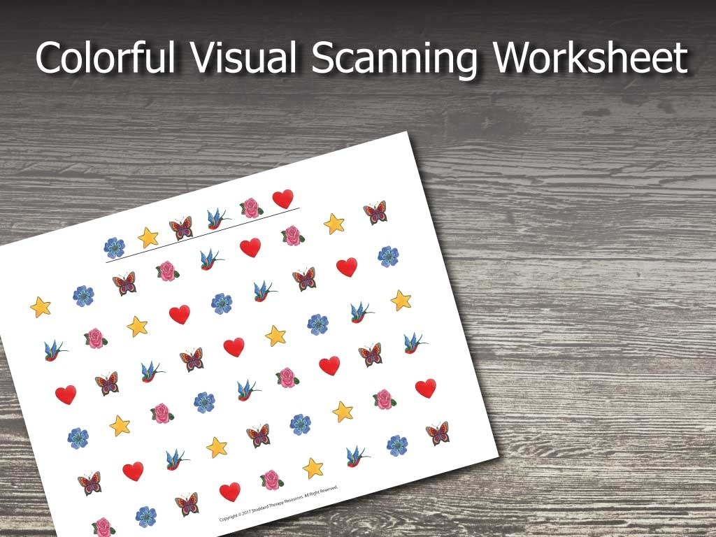 Colorful Visual Scanning Worksheet