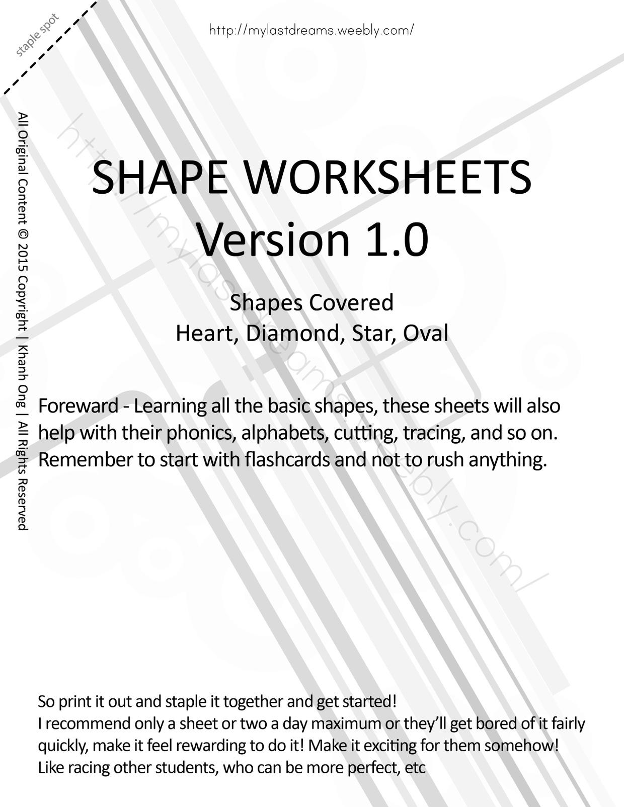 MLD - Basic Shapes Worksheets - Part 2 - Letter Sized