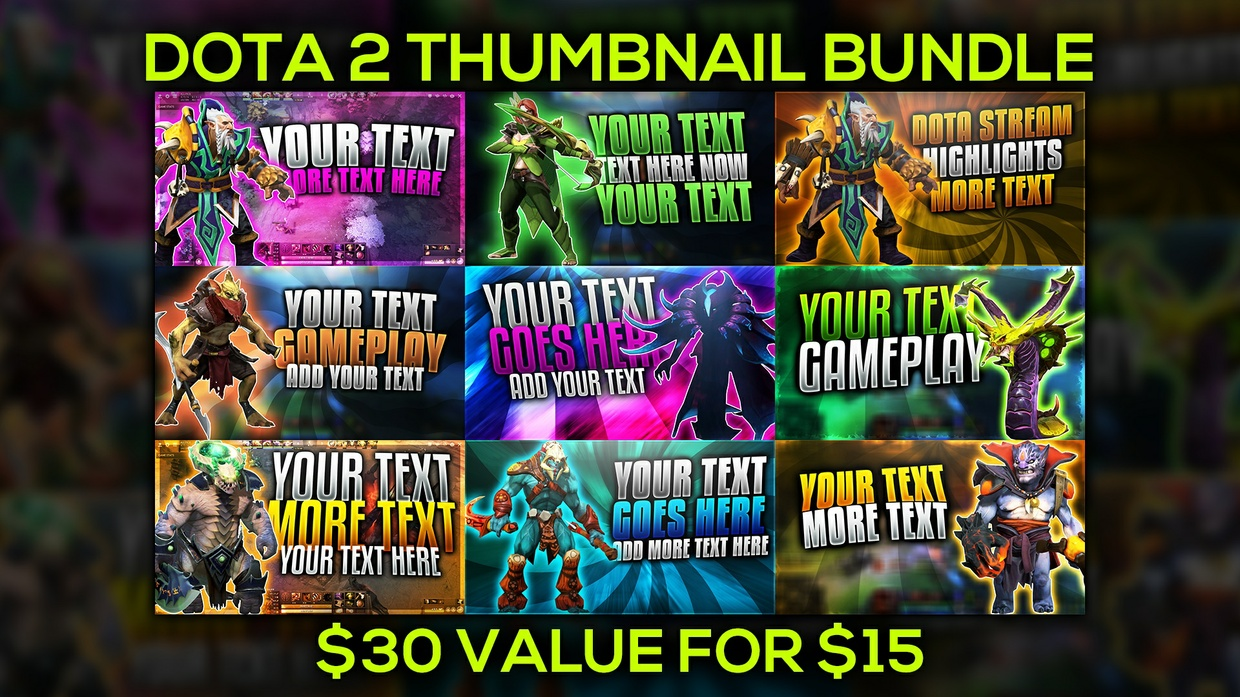 Dota 2 Thumbnail Template Bundle Pack