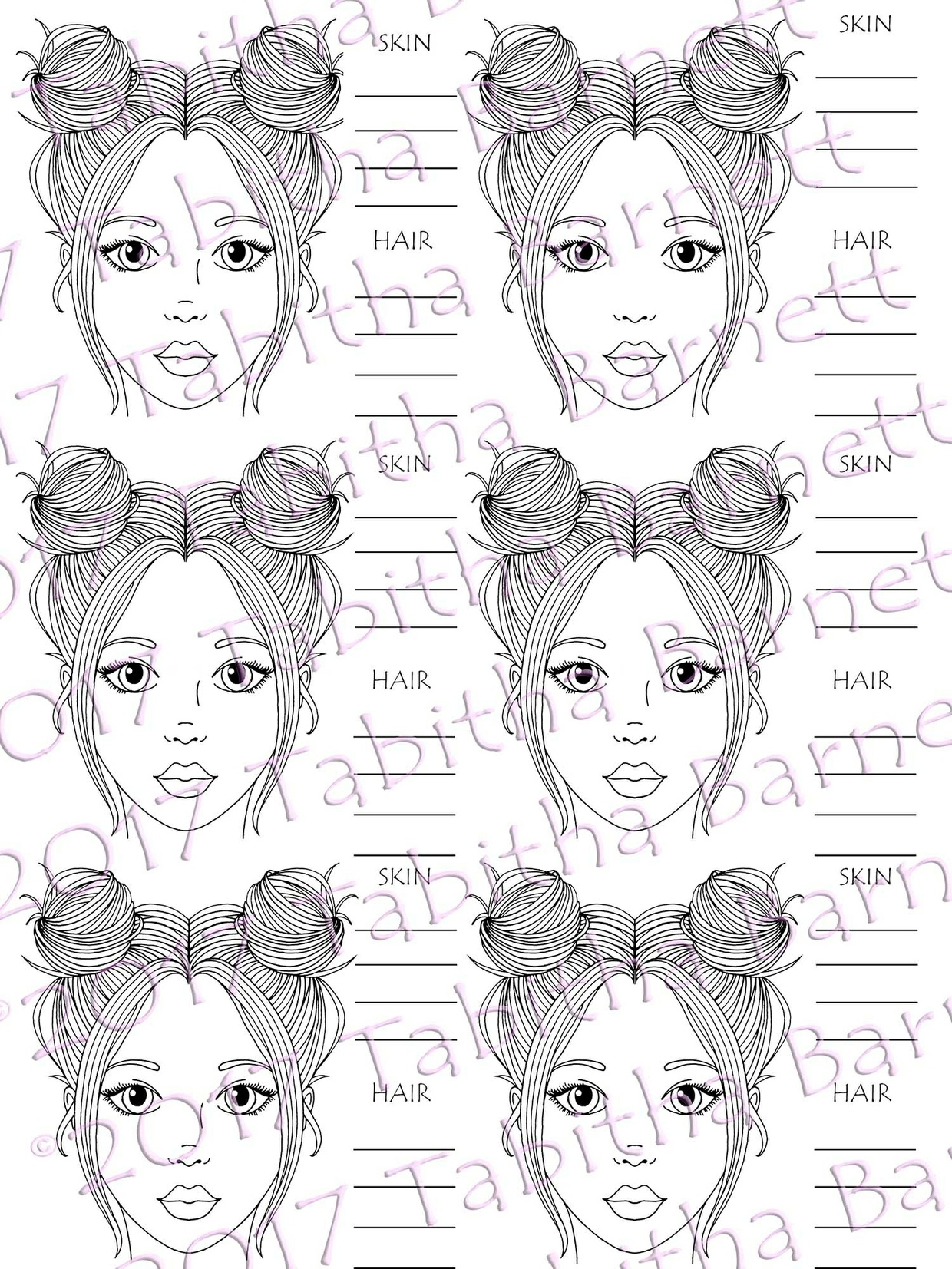 BLANK Hair and Skin Color Charts and Practice Page PDF