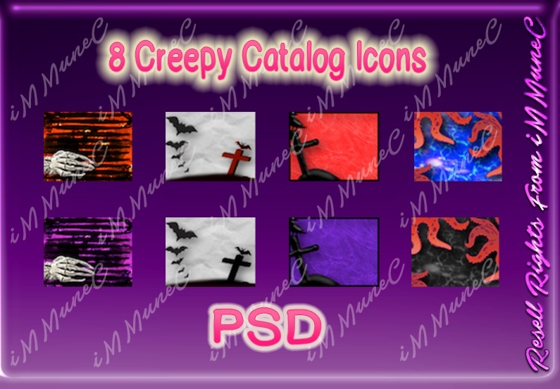 8 Creepy Catalog Icons (Set 1) PSD (Halloween)