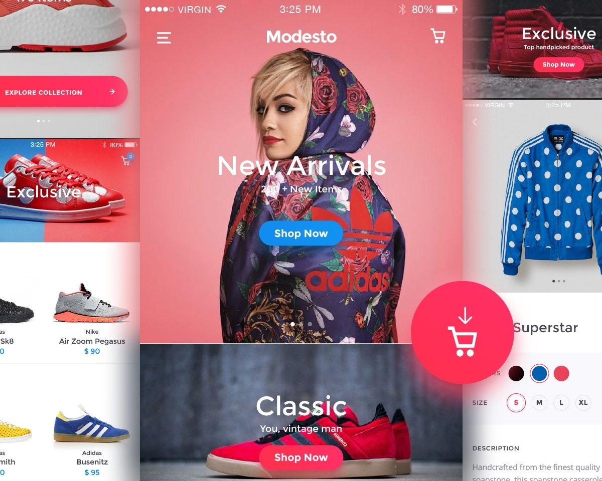 Modesto Ecommerce Mobile UI Kit - for Sketch