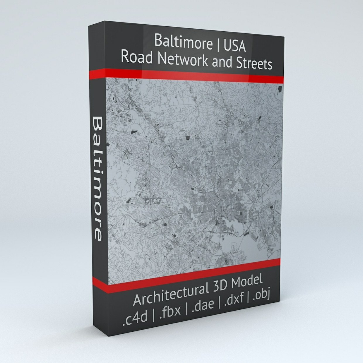Baltimore Road Network and Streets Architectural 3D Model